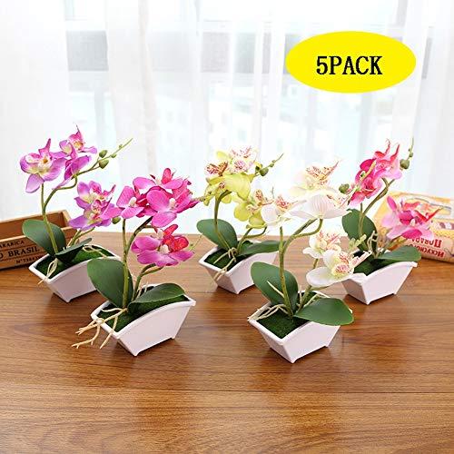 Sanqing Artificial orquídea Bonsai Falso Flores con florero en Maceta Planta de Simulación Phalaenopsis Home Decor Interior Exterior Oficina Artificial Planta (6pack)