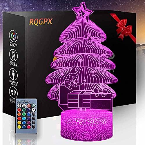Árbol de Navidad 3D LED luz nocturna, lámpara de ilusión 16 colores cambiantes Touch lámpara de escritorio para niños cumpleaños regalos de Navidad