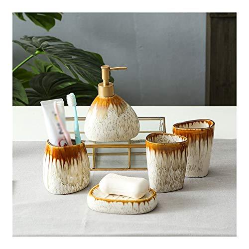 TXOZ-Q Nordic baño de cerámica Set -5 Piezas Incluye Cepillo de Dientes Titular dispensador de jabón, Vaso, jabonera (4 Colores) (Color : Brown)