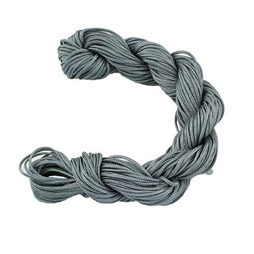 Perlin 30 Meter Makramee Garn 1mm Schnur, Schmuckschnur, Schmuckfaden für DIY Handwerk Machen Farbauswahl (Silber Grau)