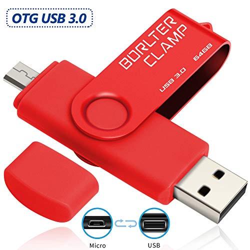 BorlterClamp 64GB OTG USB-Stick Speicherstick Dual USB 3.0 Flash-Laufwerk mit Micro USB-Laufwerk Anschluss für Android Smartphone Tablets & Computer (Rot)