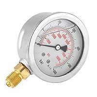 """油圧圧力ゲージ、0〜600 bar/0-8500Psi G 1/4""""スレッド63mm金属アウターケースダイヤル水圧ゲージメーター測定ツール、バー/Psi測定用"""