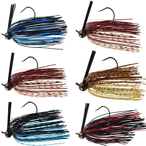 Bass Football Jig - 6pcs Weedless Fishing Jig Flipping Jig Football Head Weedguard Silicon Skirts Swim Jigs for Bass Artificial Baits Fishing Lure Kit 1/4 oz 3/8oz
