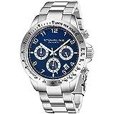 Montre d'Hommes Stuhrling Chronographe de Cadran de la Tachymètre Bleue Montre-de Sport Solide en Acier Inoxydable Bracelet...