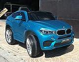 Indalchess Coche para niños BMW X6-M 12V, Azul metálico, 1 Plaza, Mando RC