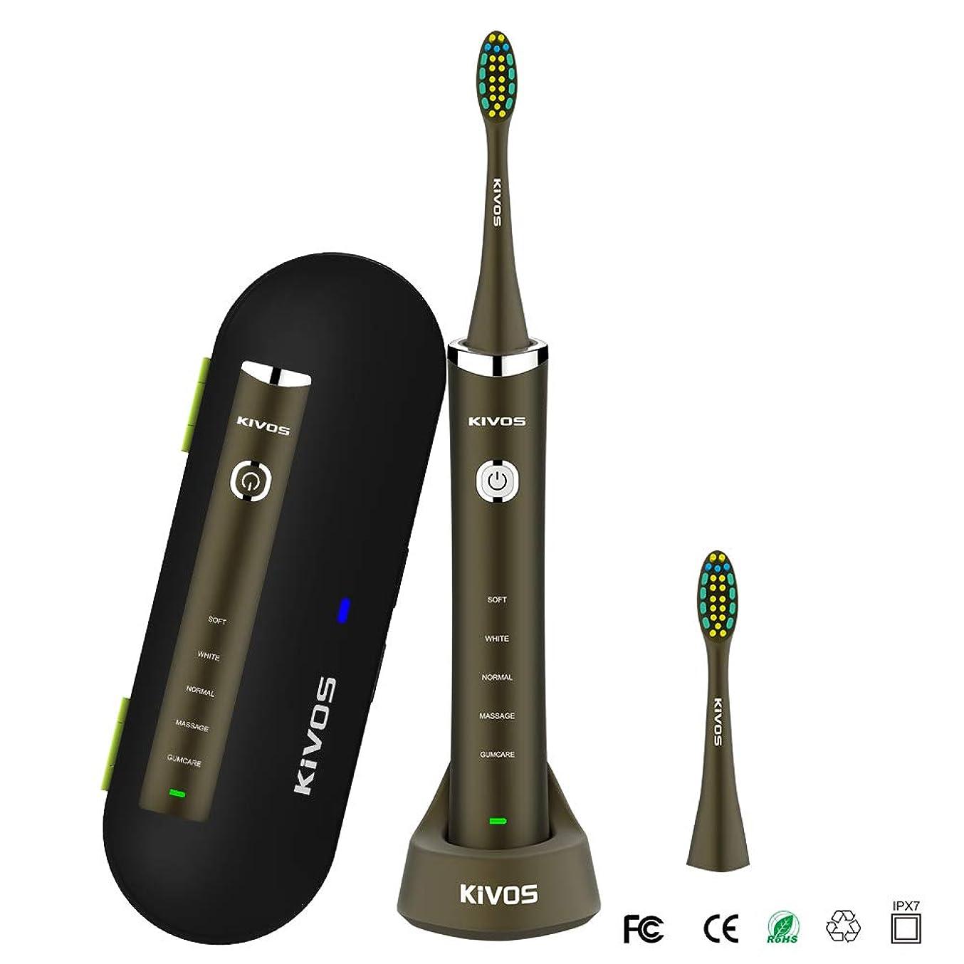 ノート蚊証言KIVOS 電動歯ブラシ音波歯ブラシ UV 除菌機能付き電動歯ぶらし歯ブラシ除菌器 歯ブラシUV紫外線除菌収納ケース歯みがき 電動はぶらし IPX7防水 旅行出張に最適