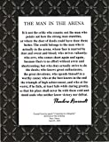 Desiderata Gallery Brand, Wood Framed Words of Wisdom by Theodore Roosevelt, Signature Collection - The Man in The Arena 10x12 Chevron Design