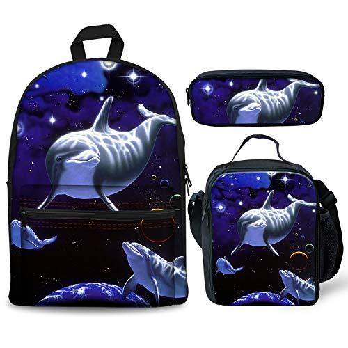 Foruidea - Juego de 3 Mochilas de Galaxia con diseño de delfín para el Almuerzo