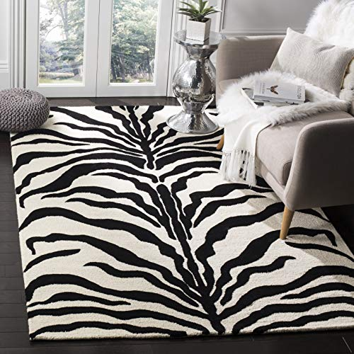 Safavieh Zebra-gestreifter Teppich, CAM709, Handgetufteter Wolle, Elfenbein / Schwarz, 120 x 180 cm