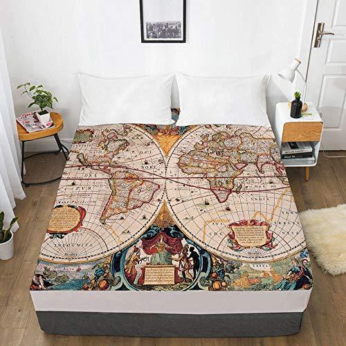 lhmlyl Sábana Ajustable Mapa Digital del Protector del colchón de la sábana de la impresión 3D Mapa 012-White-F_El 160x200x30cm