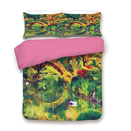 California King Size Pink Back Duvet Cover Set,Fairy Image of a Japanese Garden with an Old Ancient Bridge over the Lake Nature Print Decorative 3 Piece Bedding Set with 1 Pillow Sham,Green Orange