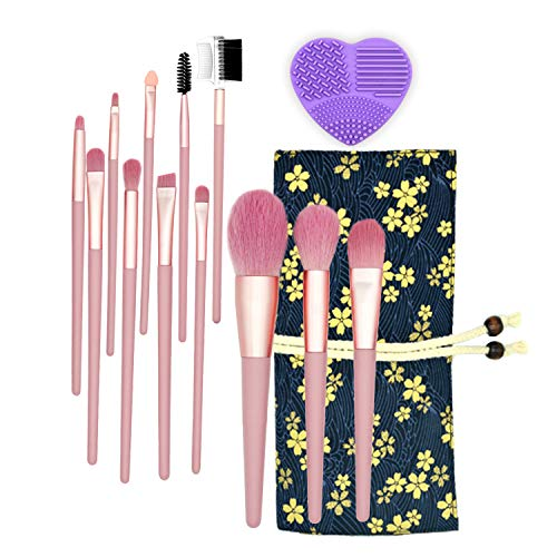 FunnySeed Makeup Brush Set Premium Makeup Brushes Foundation Blending Brush Face Blush Concealer Eyeshadow Brush with Cosmetic Bag Pink