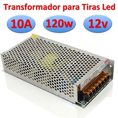 Ahorraluz Transformador DC Alimentador para Tiras Led Fuente de Alimentación Regulable 220v (12v 10A 120w Profesional), Metálico
