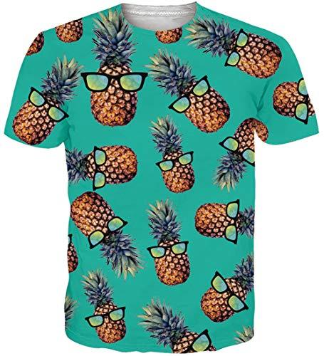 Loveternal Divertida T-Shirt Piña 3D Impreso Camisas Hawaianas Casual Pineapple Graphic Tops Manga Corta Camisetas para Hombres L