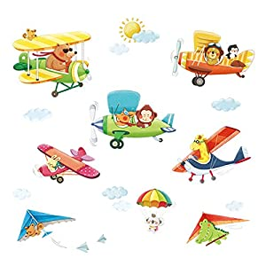 DECOWALL DA-1506BC Animal Biplanes with Hang Glider Kids Wall Stickers Wall Decals Peel and Stick Removable Wall Stickers for Kids Nursery Bedroom Living Room décor