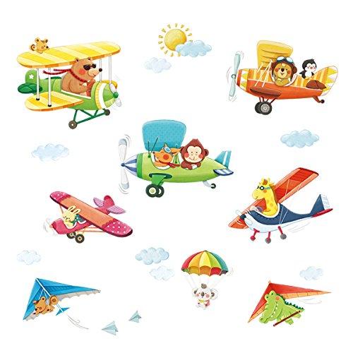 Decowall DA-1506BC Doppeldecker Hängeleiter Autos Flugzeuge Tiere Wandtattoo Wandsticker Wandaufkleber Wanddeko für Wohnzimmer Schlafzimmer Kinderzimmer