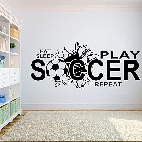 Zdklfm69 Tatuajes de Pared Pegatinas de Pared FÚTBOL Eat Sleep Play Soccer Vinilo Cita niños niño Adolescente Dormitorio decoración...