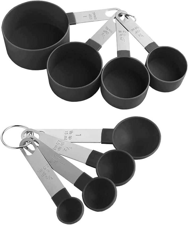 Juego de Cucharas Medidoras, 8 Cucharas Multifuncionales para Medir Sólidos y líquidos en la Cocina, Negro