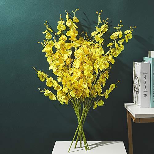 GANHUA Adornos de simulación de orquídeas Que Bailan Amarillas Sala de Estar Decoración nórdica de Flores Falsas Mesa de Centro Mueble de TV Mesa de Comedor jazmín 10 Precio 10 orquídeas Que Bailan