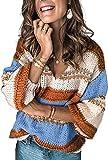Maavoki Damen Gestreift Strickpullover, Elegant V-Ausschnitt Pullover, Oversize Casual Loose Langarm Oberteile Knit Knit Sweater Knit Tops Shirts