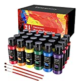 Acrylic Paint Set 24 Colors(2oz /60ml), Fantastory Craft Paint Kit with 3 Brushes, Art Supplies for Adults & Kids, Multi-Surface Paints on Canvas/Fabrics/Rock/Glass/Stone/Ceramic/Model/Wood Painting