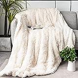 immtree Faux Fur Throw Blanket,Fuzzy Cozy Plush Fleece Couch Blanket,Reversible Fluffy Long Hair Shaggy Blanket,Decorative Fur Throw Blanket,Velvety Polyester Microfiber All Season Use 50''×60' Cream