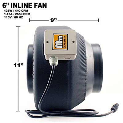 "New MTN 6"" Inline Exhaust Fan Blower Carbon Filter Scrubber Combo Hydroponic"