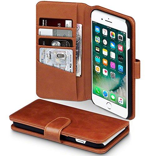 TERRAPIN custodia Compatibile con per iPhone 8 Plus / iPhone 7 Plus in vera pelle Cognac
