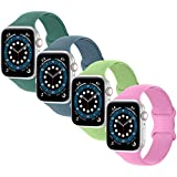Booyi Compatible with Apple Watch Band 38mm 40mm 42mm 44mm,Pack 4 Soft Silicone Replacement Bands Compatible with iWatch Series 6/5/4/3/2/1/SE