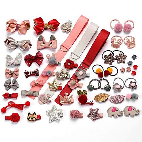HOOMBOOM Clip per capelli per bambina, 54PCS Simpatici fiocchi per capelli Cravatte per capelli elastiche per bambini Accessori per capelli Supporto per coda di cavallo Set