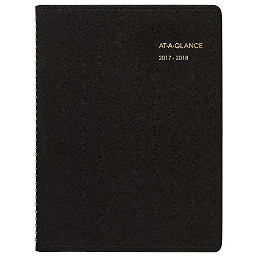 "AT-A-GLANCE Academic Appointment Weekly/Monthly Book/Planner, July 2017 - June 2018, 9-1/8"" x 11"", Black (70957E05)"