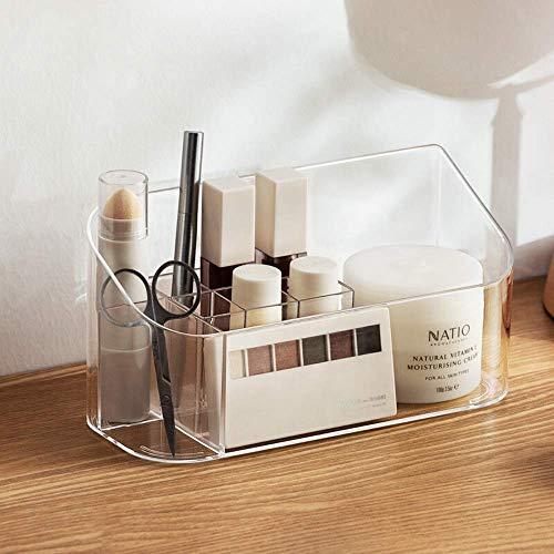 SUNFICON MakeupTray Badezimmerschrank, Kosmetik-Organizer, Aufbewahrungs-Tablett, Halter, Theke, Schminktisch, Vitrine mit 9 Fächern, 2 herausnehmbare Trennwände für Schönheit, kristallklar
