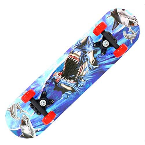 RYQSM Skateboard, Allrad-Skateboard Für Anfänger, 7-Lagige, Dicke Ahornplatte Für Kinder, Silentrad-Skateboard-Hai