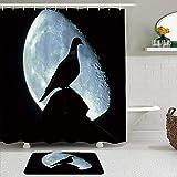 GugeABC Stoff Duschvorhang & Matten Set,Schatten der Taube Taubenvogel Blue Moon Planet Mystery Mysterious Creative,Wasserabweisende Badvorhänge mit 12 Haken,rutschfeste Teppiche