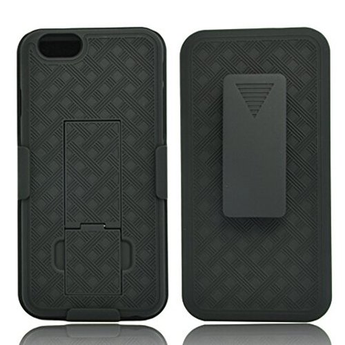 """Verizon iPhone 6 6S Black Hard Shell Case Combo, Cover Holster Belt Clip with Kickstand for iPhone 6 6S (4.7"""")"""