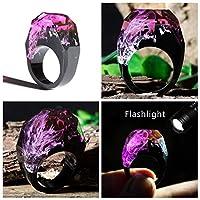 ZYZRYP 魔法の世界でAタイニー風景グローリングでダークベストギフトの乾燥した花の樹脂リングエコエポキシジュエリーザ・シークレット 使いやすい (Main Stone Color : K, Ring Size : 8.5)
