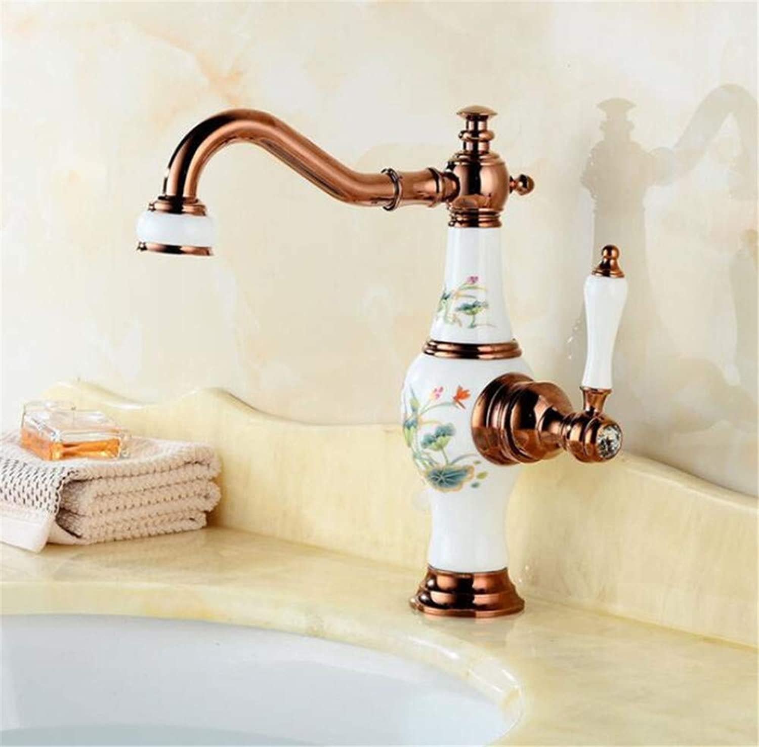 FuweiEncore Basin Faucet pink gold and Porcelain Brass Basin Sink Faucet Deck Mounted Bathroom Water Tap Hot and Cold Mixer Tap Basin Faucet (color   -, Size   -)