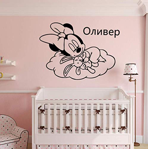 XKIOA Personalized Custom Name Minnie Mouse Vinyl Wall Stickers Decor for Babys Room Kids Room Decoration Decal Wallsticker 43x57cm