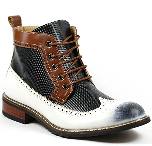 Ferro Aldo MFA-806278 White Black Brown Navy Perforated Mens Lace up Dress Ankle Boot w/ Leather Lining and Full Side Zipper (12)