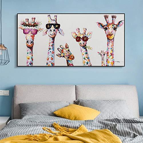 JinYiGlobal Pinturas en Lienzo de Graffiti Animal Colorido Jirafa una Familia con Gafas Cuadros en Lienzo Arte de la Pared para la decoración del hogar de la habitación 55x110cm Sin Marco