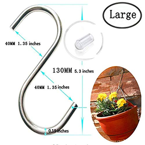 Christmas S Shaped Hooks Gardening Tools,Heavy-Duty Stainless Steel Hanging Hanger Bearing Up to 30 KG, Plants, Kitchen Pots and Pans,Shower Curtain - Oversize Large Size,5.3 inch 10 Pack
