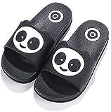 Chanclas de playa Zapatos de Piscina Panda para Niña Niño Sandalias Verano Antideslizante Zapatillas de Baño Casa Hombre Mujer Negro 32/33 EU = 33/34