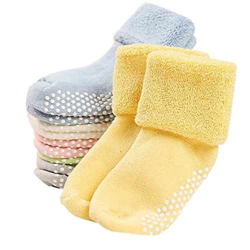 VWU Calzini Calze Invernali Caldo Cotone taglio basso Bambini e Neonati Confezione da 6/8 Paia (Grigio Verde Bianco Rosa Blu Giallo, 1-3 Anni)