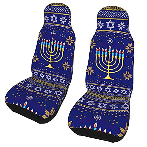 KXT Hanukkah Jewish Holiday Car Seat Covers,Automotive Front Seat Protection Cover, Suitable for Cars, Suvs, Trucks, Vans
