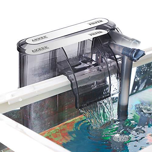 AKKEE Filtro per Acquario, Valvola di Flusso Regolabile, Acquario Sommergibile Filtro a Cascata Tipo di 200L   H Filtro Esterno, Adatto per Acquario da 20L ~ 40L (3,5W)