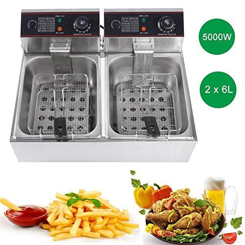 Friggitrice Professionale Per Cucinare In Casa,Controllo di temperatura, Ciotola d\'olio removibile,in acciaio inossidabile, Doppia Capacita (12L)