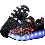 WANGT Zapatos de Doble Rueda,Zapatos de Patines,Led Luces 7 Colores Que cambian los USB Cargable Ajustables Ruedas Zapatillas de Gimnasia Intermitentes para niñas y niños Mutilsport,Negro,28