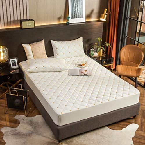 XLMHZP Sábanas bajeras de algodón de Fibra Larga Bordadas, colchas Antideslizantes Acolchadas, Protector de colchón Individual Doble tamaño King-E_120x200cm + 30cm