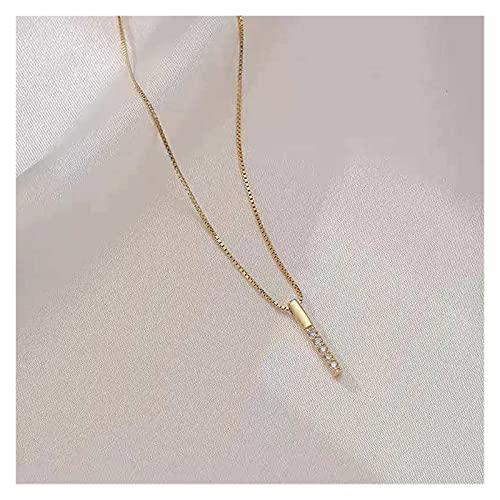 SFQRYP 925 Collar de Plata esterlina Simple Geométrico Cubic Zircon Choker Brillante Exquisita Cadena de clavícula para Mujeres (Gem Color : Golden, Length : 40cm)