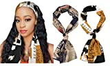 GERINLY Vintage Edge Laying Scarf Retro Style Headband for Wig 70s Hair Ties Long Silk Neck Scarf with Letter Print (KhakiYellow)